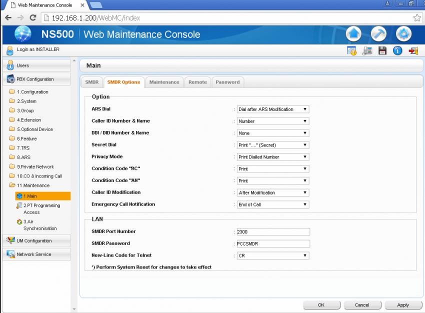 NS500,NS700,NS1000 web maintenance console SMDR settings